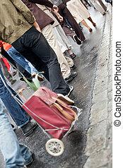 pieszy, grupa, tłum, ludzie, (motion, -, razem, blur)