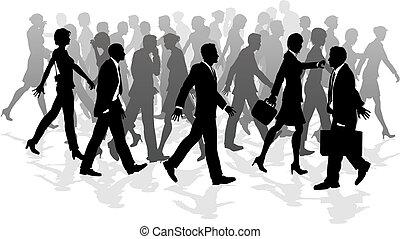 pieszy, gwałtowny, handlowy, tłum, ludzie