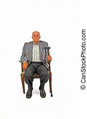 pieszy, jego, stary, posiedzenie, fotel, wtykać człowieka