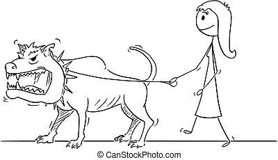 pieszy, kobieta, potwór, cielna, pies, zwierzę, smycz, niebezpieczny, rysunek