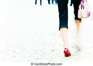 pieszy, kobieta, -, sztylet, ruch, bruk, plama, korek, czerwony