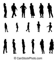 pieszy, komplet, sylwetka, ludzie, ilustracja, wektor, czarnoskóry, children., biały