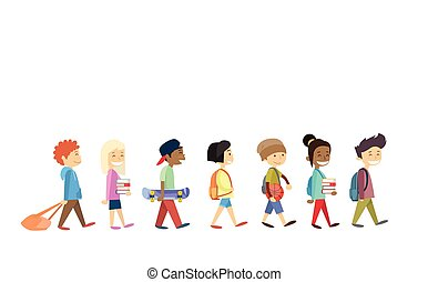 pieszy, odizolowany, iść, studenci, grupa, dzieci, szkoła