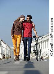 pieszy, para, młody, rower, outdoors, szczęśliwy