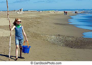 pieszy, plaża, dziecko