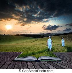 pieszy, pojęcie, chłopcy, młody, wole, pole, książka, przez, zachód słońca, krajobraz