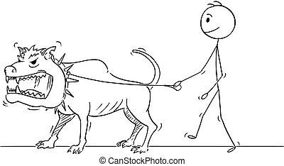 pieszy, potwór, cielna, pies, zwierzę, niebezpieczny, rysunek, człowiek