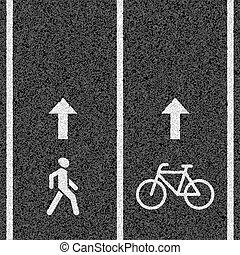 pieszy, rowerowe ścieżki