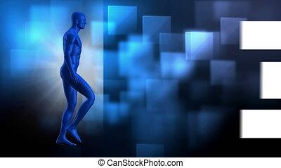 pieszy, tło, strzała, cyfrowy, ożywiony, człowiek, błękitny