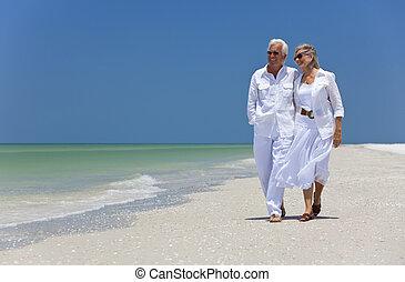 pieszy, taniec, para, tropikalny, senior, plaża, szczęśliwy