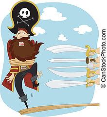pieszy, wykonanie, deska, pirat