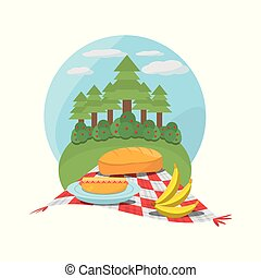 piknik, łąka, drzewo, tablecloth, biały czerwony