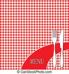 piknik, czerwony materiał