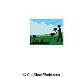 piknik, ilustracja, rodzina, posiadanie