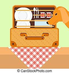 piknik jadło, basket., pies, ilustracja, patrząc, wektor, tableware., kosz, otwarty
