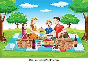 piknik, posiadanie, rodzina, szczęśliwy