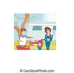piknik, posiadanie, rodzina