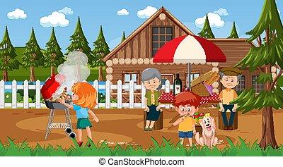 piknik, posiadanie, scena, rodzina, na wolnym powietrzu, szczęśliwy, natura