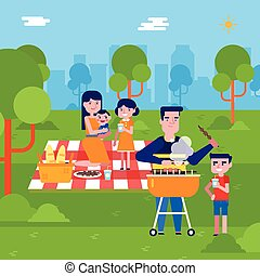 piknik, rodzina, park, młody, kaukaski, posiadanie