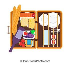piknik, zastawa stołowa, ilustracja, pokarmy, wektor, kosz, otwarty