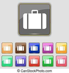 pikolak, komplet, barwny, poznaczcie., umieszczenie., jedenaście, wektor, walizka, twój, ikona