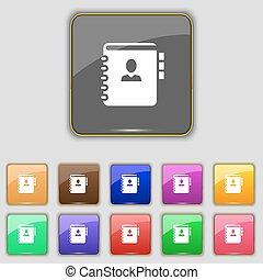 pikolak, komplet, barwny, telefon, poznaczcie., twój, umieszczenie., jedenaście, wektor, adres, notatnik, książka, ikona