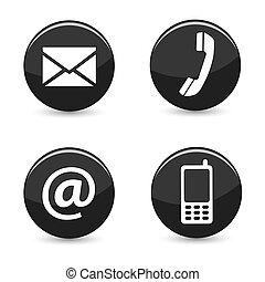 pikolak, sieć, kontakt na, ikony