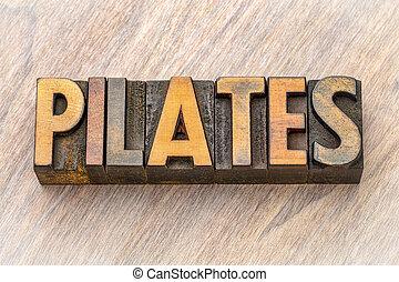pilates, słowo, abstrakcyjny, -, drewno, typ