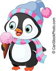 pingwin, jedzenie, lód krem
