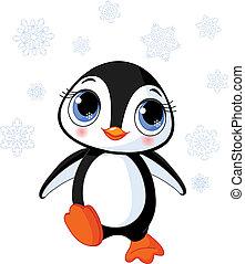 pingwin, zima, sprytny
