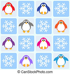 pingwiny, płatki śniegu