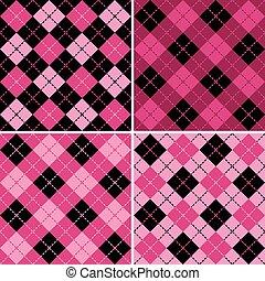 pink-black, wzory, plaid-argyle