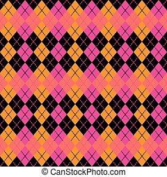 :pink, pomarańcza, argyle, black., projektować