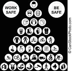piramida, zbiór, zdrowie, bezpieczeństwo, biały, ikona
