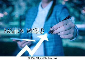 pisanie, handlowy, world., showcasing, świat, style, odzież, nuta, fason, pokaz, fotografia, zwija, appearance.