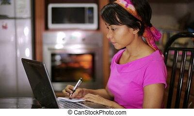 pisanie, kobieta, recepta, internet