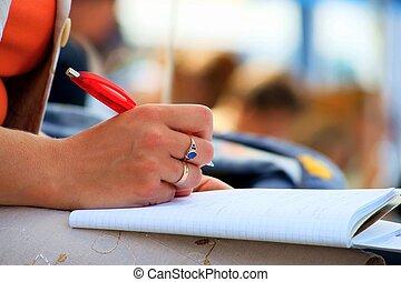 pisanie, konferencja, katalogi, student, spotkanie
