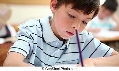 pisanie, uczeń, notatnik, jego