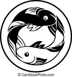 pisces, zodiak sygnuje, ryba ikona