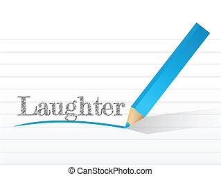 pisemny, notatnik, śmiech, biały, kawał