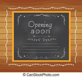 pisemny, otwarcie, chalkboard, niebawem
