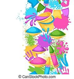 pistolety, blots, holi, barwny, border., brudzi, wiadra, seamless, ilustracja, woda, malować, bandery, szczęśliwy