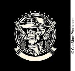 pistolety ręczne, czaszka, kowboj