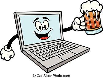 piwo, komputer, kubek, maskotka