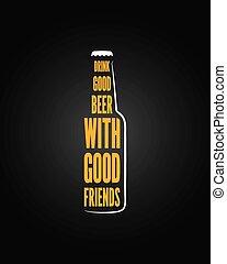 piwo, projektować, butelka, tło