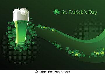 piwo, zielony, patrick's, dzień, st