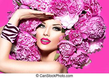 piwonia, dziewczyna, różowy, fryzura, wzór, fason, piękno