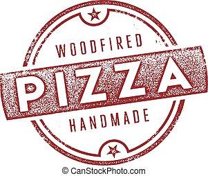 pizza, drewno, obstrzelany, znak