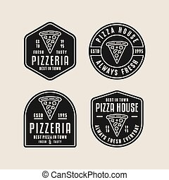 pizza, zbiór, świeży, smakowity, logo