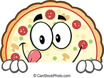 pizza, znak, na, uśmiechanie się